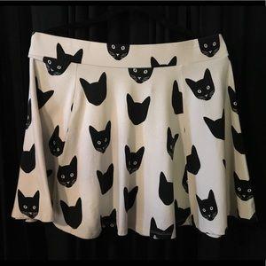 DIVIDED large cat print pale skater skirt